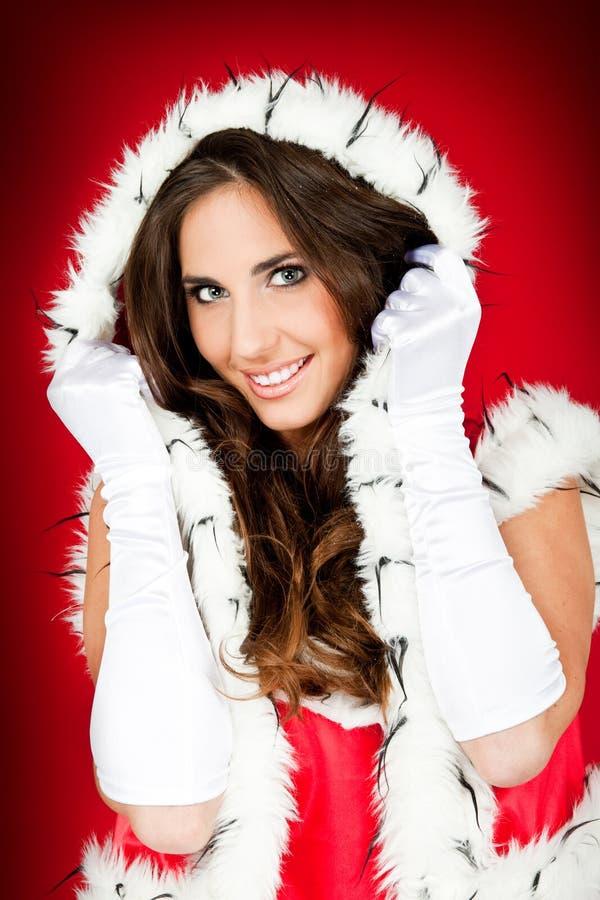 женщина santa красивейших одежд сексуальная нося стоковые изображения rf
