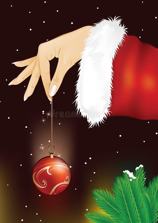 женщина santa удерживания руки рождества bauble иллюстрация штока