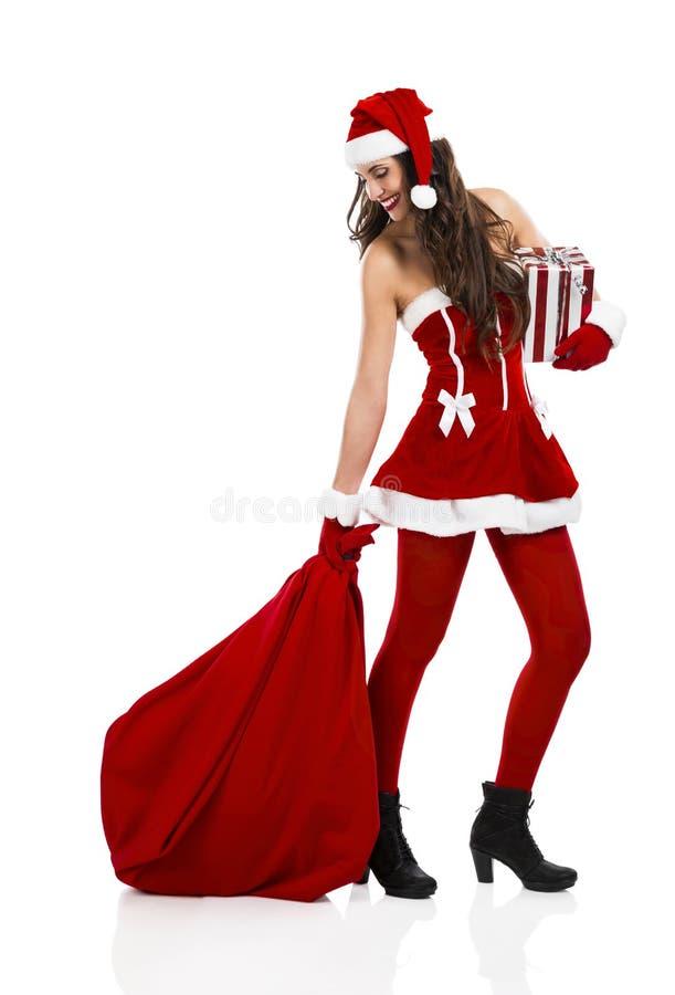 женщина santa стоковое фото rf