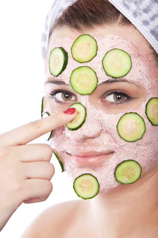 женщина skincare маски красотки стоковая фотография