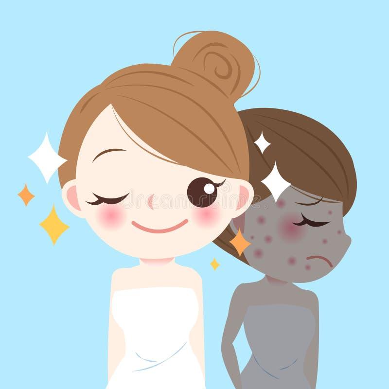 Женщина skincare шаржа красоты иллюстрация штока