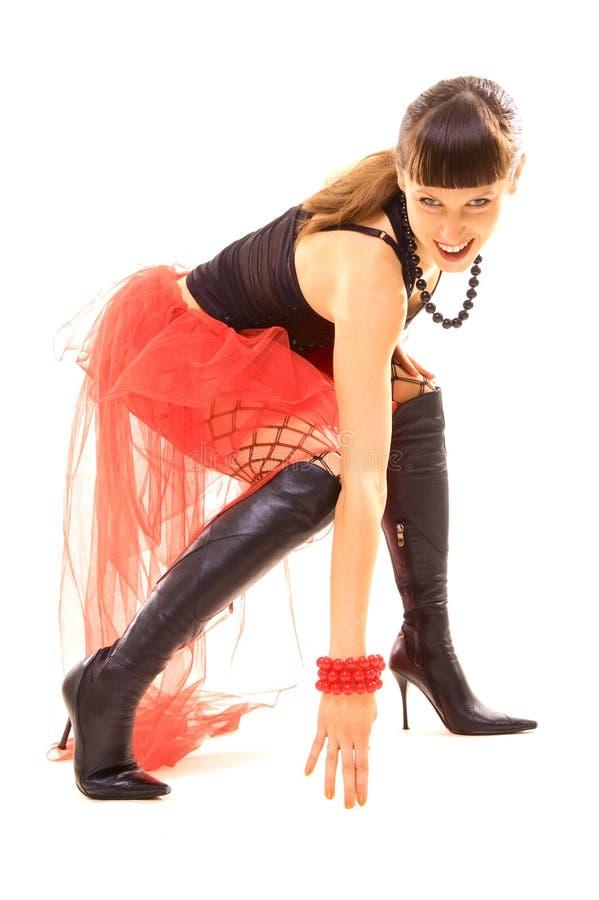 женщина smiley танцульки стоковая фотография rf