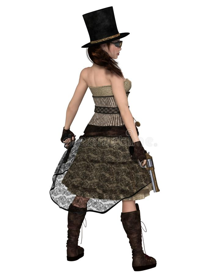 Женщина Steampunk с шляпой Stovepipe и 2 револьвера, задний взгляд иллюстрация вектора