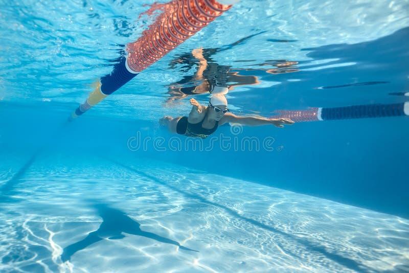 женщина swims подводная стоковые фотографии rf