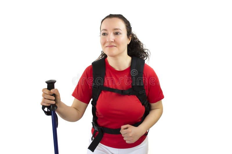 Женщина Trekker стоковое изображение