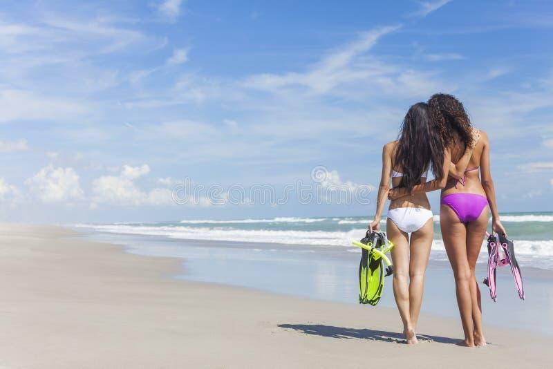Женщины бикини вид сзади красивые на пляже стоковое фото rf