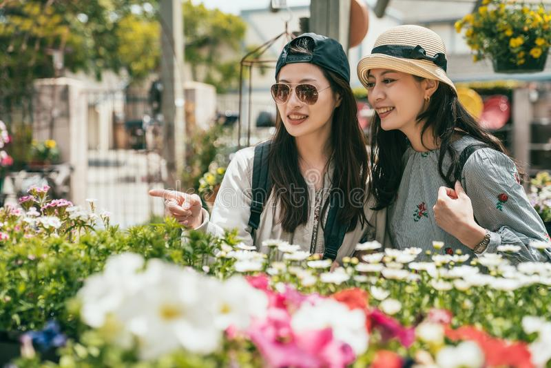 Женщины вися вне в флористе счастливо стоковое фото rf