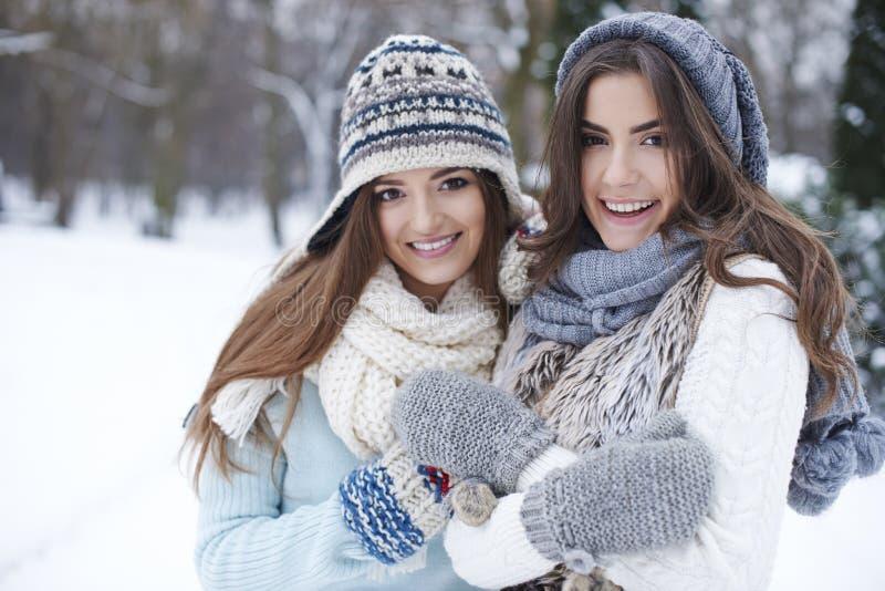 2 женщины во время зимы стоковые изображения