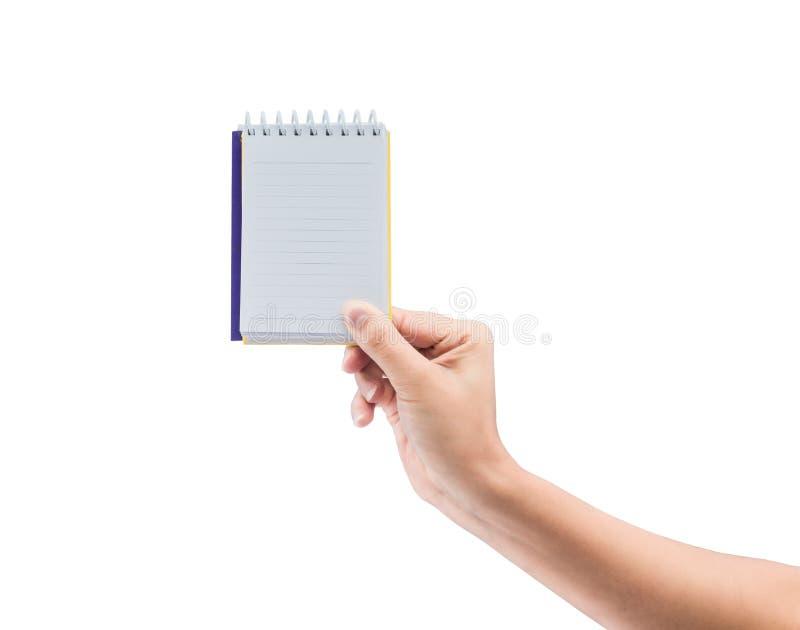 Женщины вручают держать тетрадь чистого листа бумаги стоковое изображение