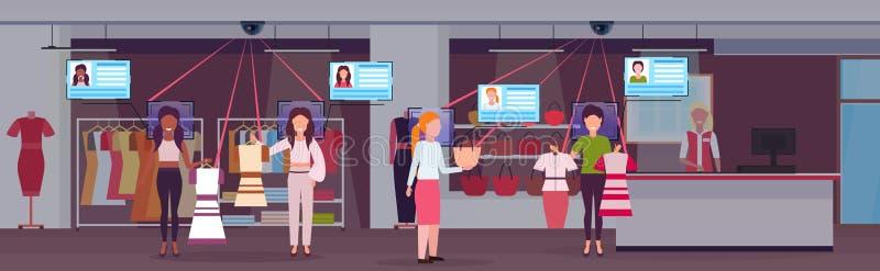 Женщины выбирая и ходя по магазинам закрывают cctv наблюдения камеры слежения концепции опознавания идентификации клиентов лицево иллюстрация вектора