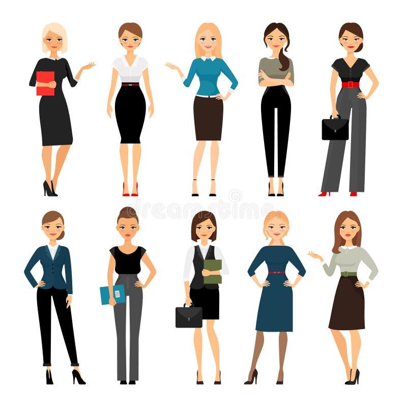 Женщины в одеждах офиса иллюстрация вектора