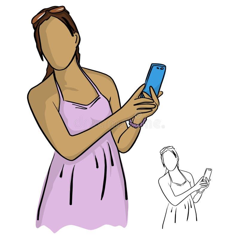 Женщины в удерживании и использовании пинка иллюстрации вектора мобильного телефона бесплатная иллюстрация