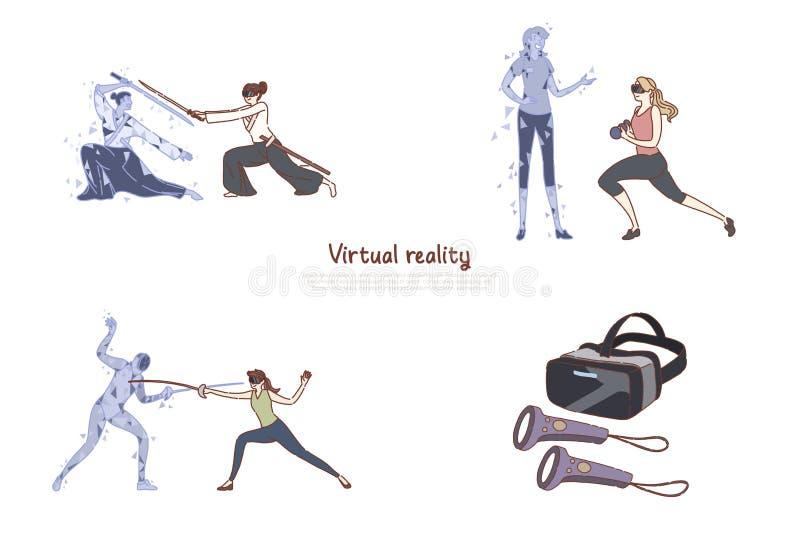 Женщины в шлемофонах vr, отдыхе ar, тренировке фитнеса, ограждая, видеоигре, цифровых развлечениях, футуристической технологии бесплатная иллюстрация