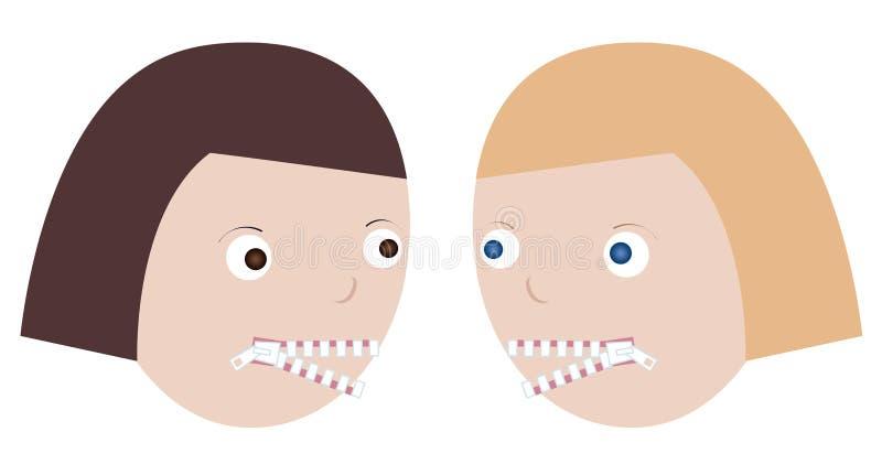 2 женщины говоря unclosed молнию рта gossiping открытую Концепция свободного выражения, сломанного безмолвия иллюстрация штока