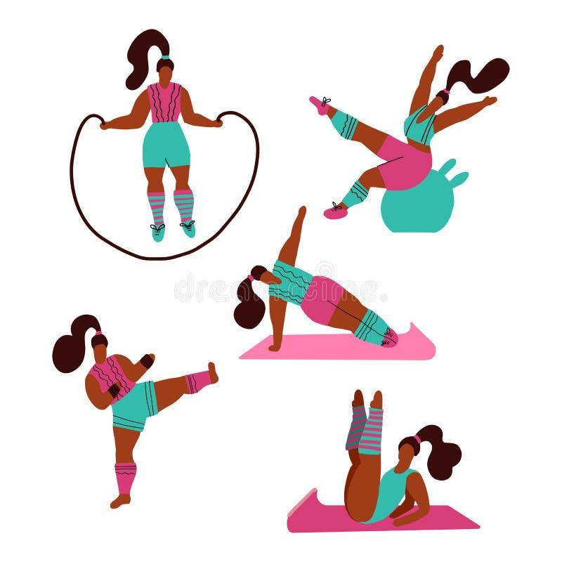 Женщины делая спорт Представления йоги, фитнеса с веревочкой скачки, fitball, kickboxing Разминка в спортзале на белой предпосылк бесплатная иллюстрация