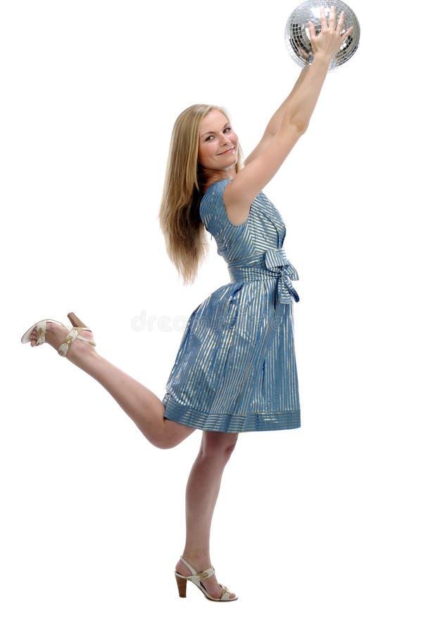 женщины диско шарика стоковое изображение