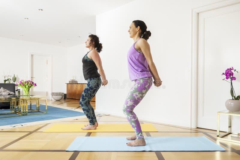 2 женщины делая йогу дома стоковое фото rf