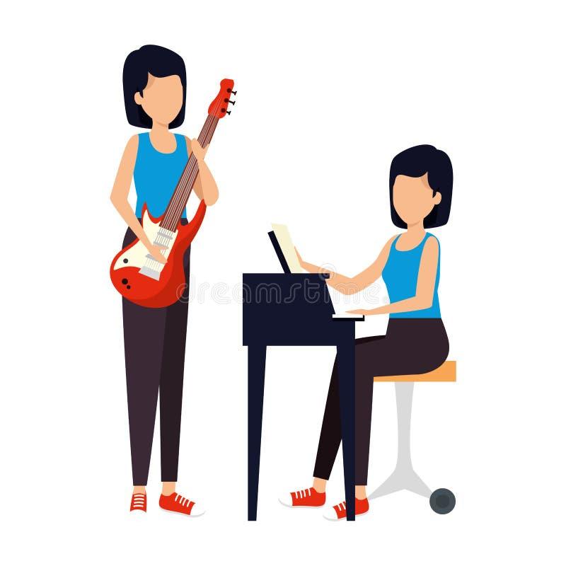 Женщины играя рояль и гитару электрические иллюстрация вектора