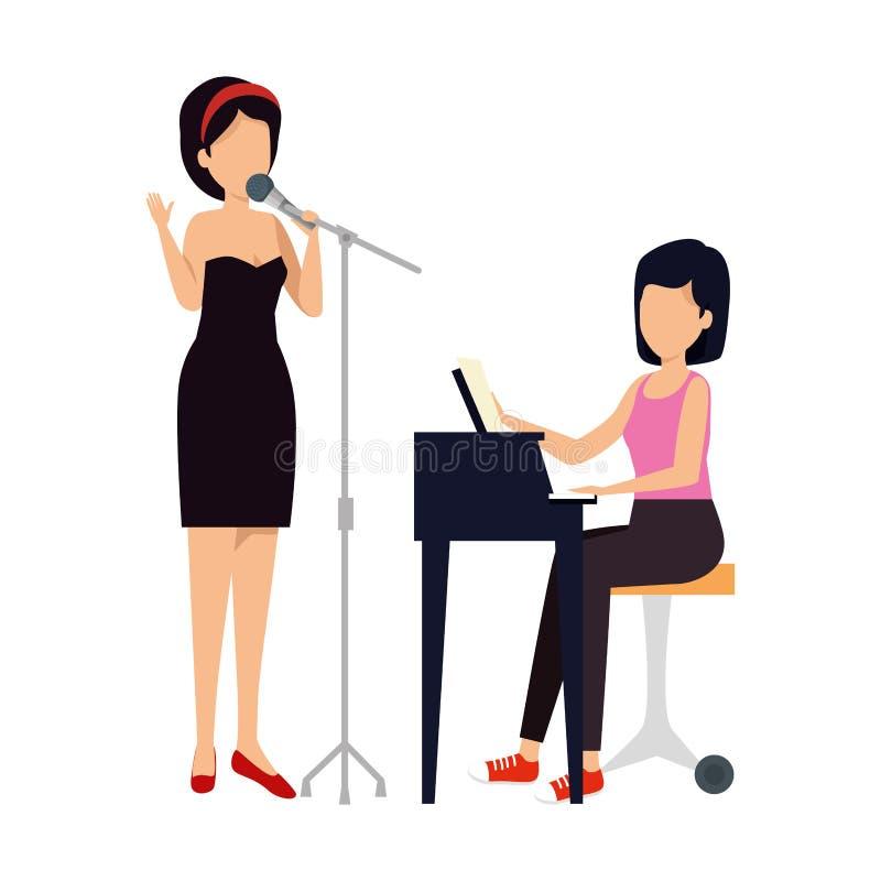 Женщины играя рояль и спеть характеры иллюстрация вектора