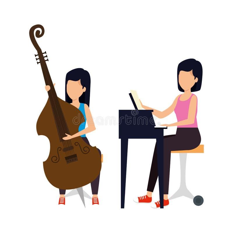 Женщины играя характеры виолончели и рояля бесплатная иллюстрация