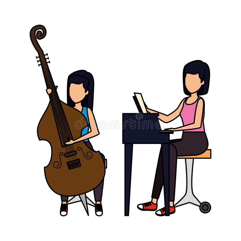 Женщины играя характеры виолончели и рояля иллюстрация штока