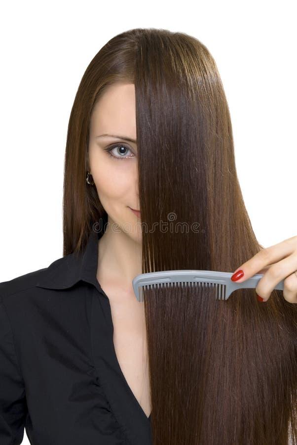 женщины изолированные hairbrush белые стоковое фото rf