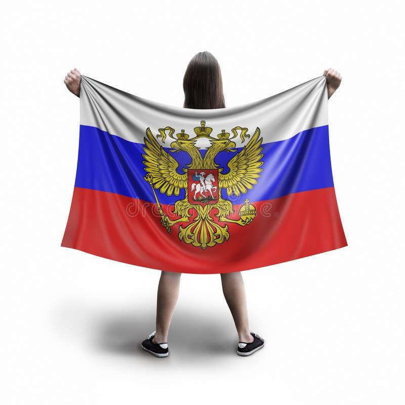 Женщины и русский флаг стоковые изображения
