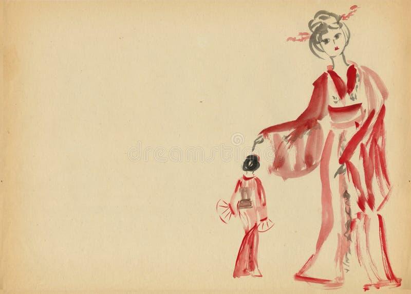 женщины кимоно 2 танцы бесплатная иллюстрация