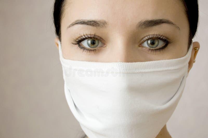 женщины красивейшего лицевого щитка гермошлема медицинские стоковое изображение