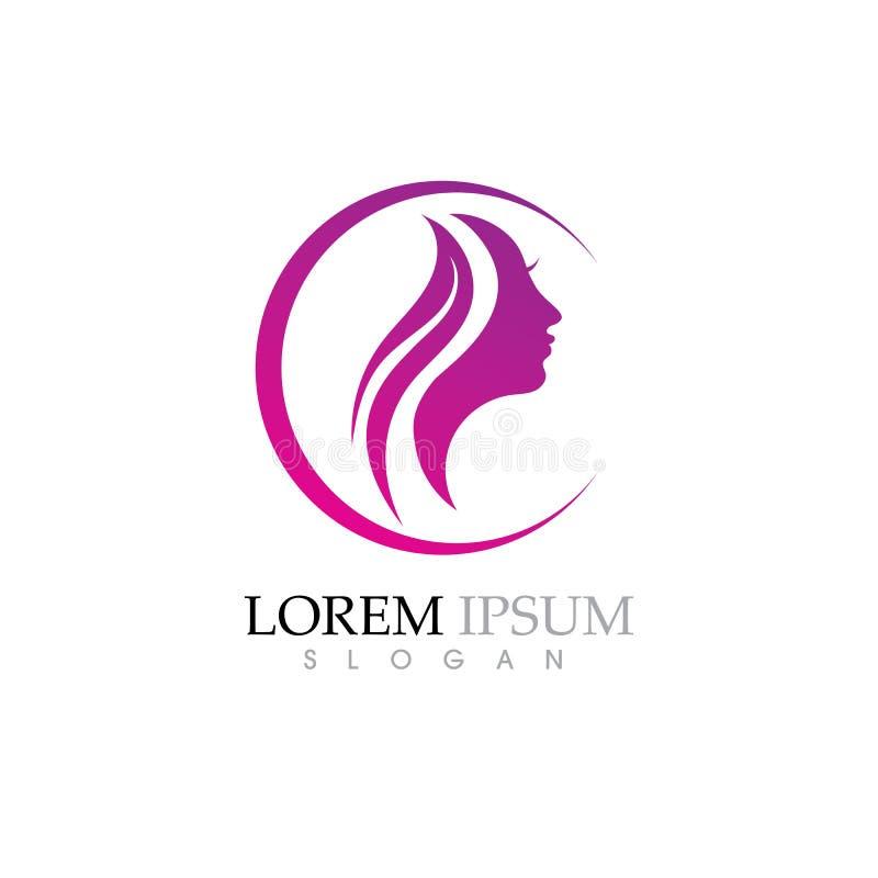 Женщины красоты смотрят на логотип характера силуэта иллюстрация вектора