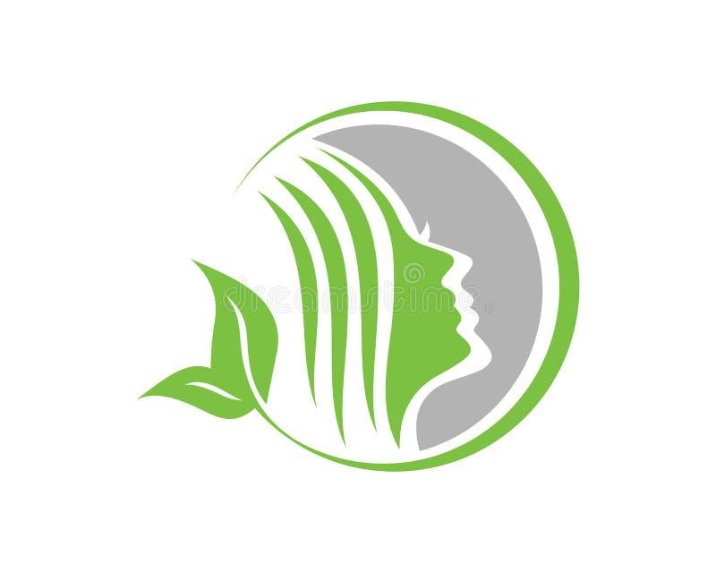 Женщины красоты смотрят на шаблон логотипа шаблона логотипа характера силуэта иллюстрация штока
