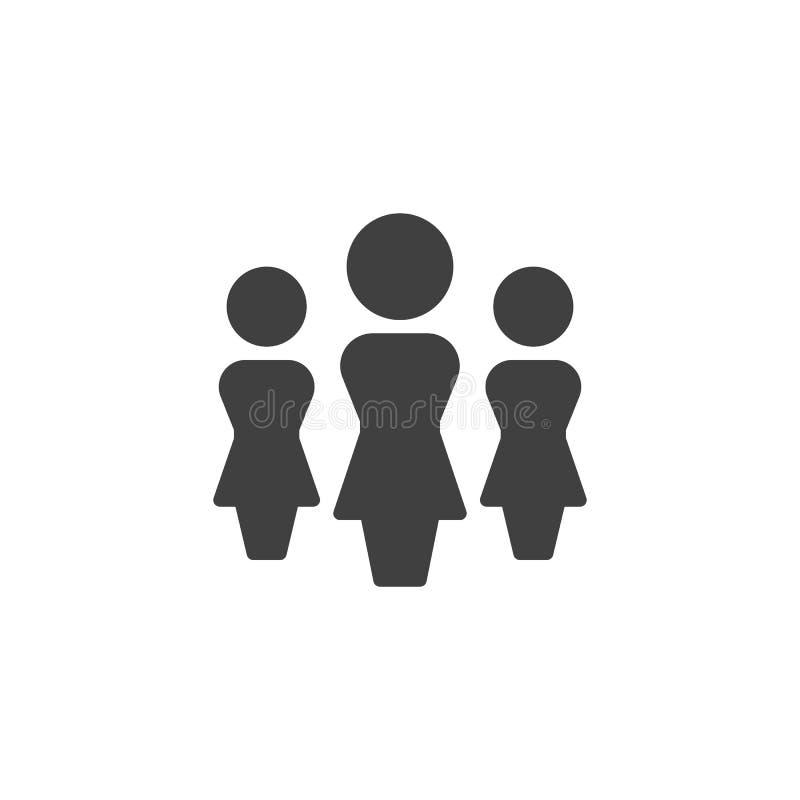 Женщины люди, значок вектора команды иллюстрация штока