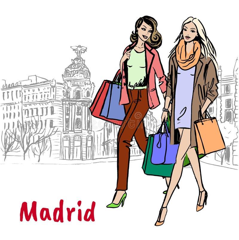 женщины мешков ходя по магазинам иллюстрация вектора