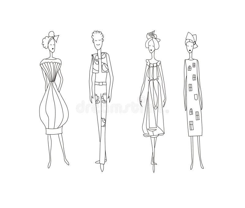 3 женщины моды и один человек Изображение моделей вектора чертежа иллюстрация штока