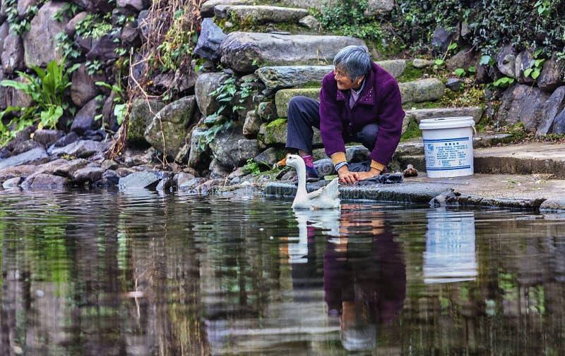 Женщины моя реку стоковое изображение