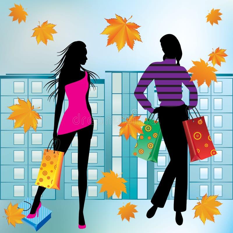Женщины на покупках. бесплатная иллюстрация