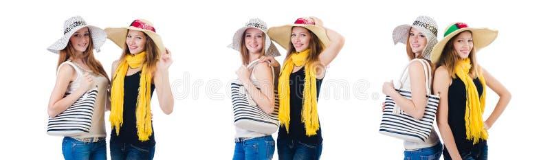 Женщины на празднике изолированные на белизне стоковое изображение rf
