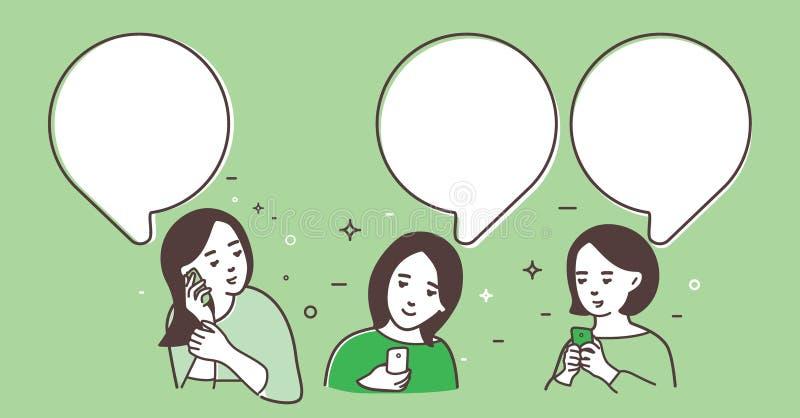 3 женщины обменянные сообщения иллюстрация штока