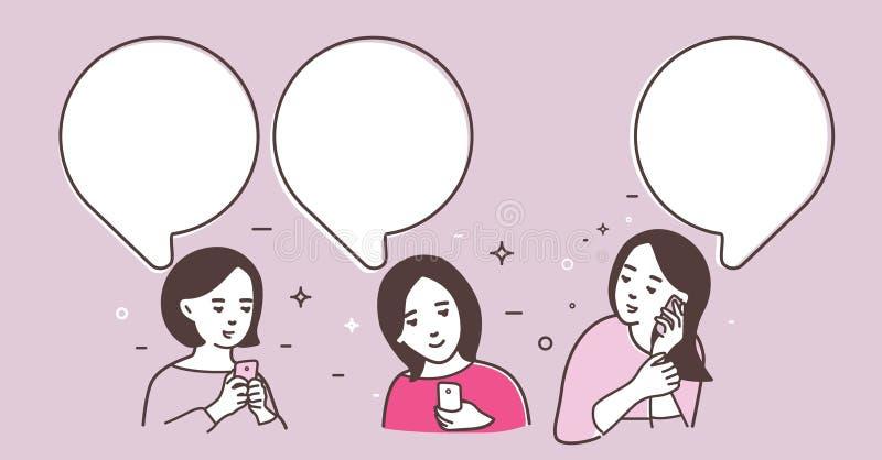 3 женщины обменянные сообщения бесплатная иллюстрация
