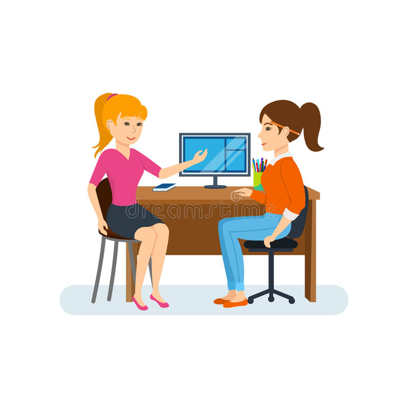 Женщины обсуждая проект деятельности, усаживание на компьютере, обменивая информацию иллюстрация вектора