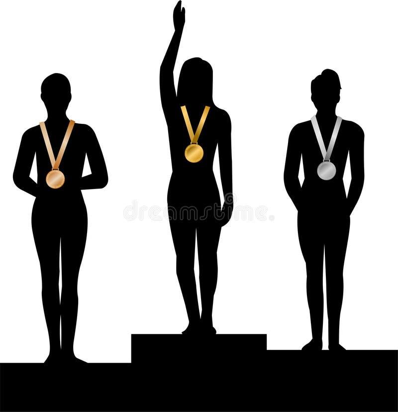 женщины победителей медали ai иллюстрация вектора