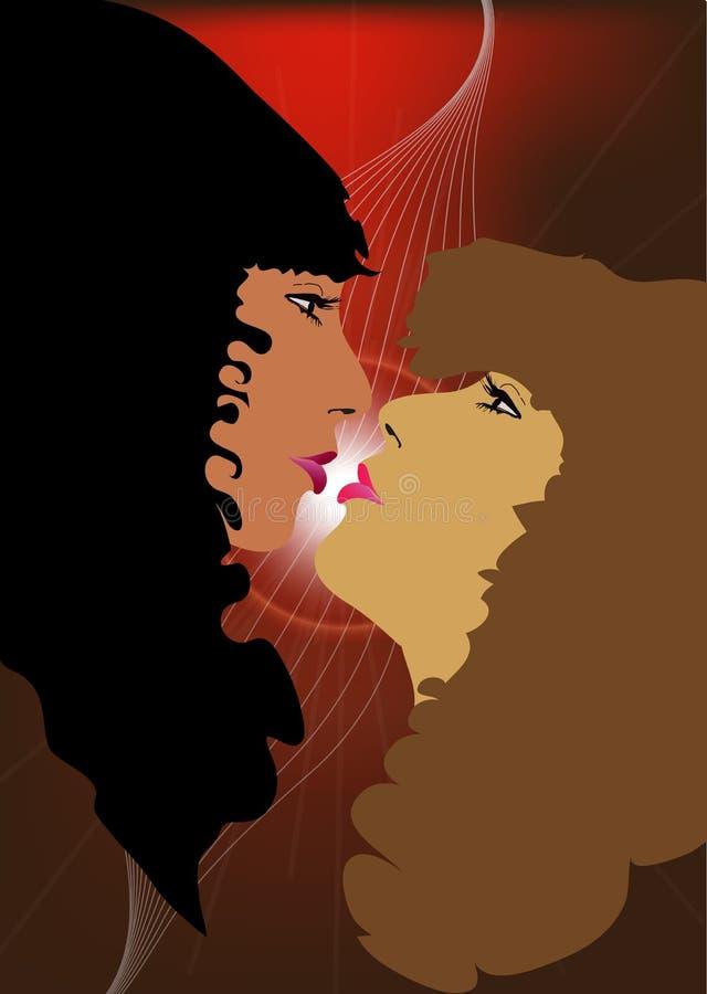 женщины поцелуя стоковые изображения