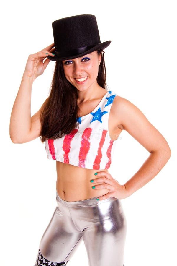 Женщины при шляпа изолированная на белой эмоции улыбки цирка диско предпосылки стоковое изображение