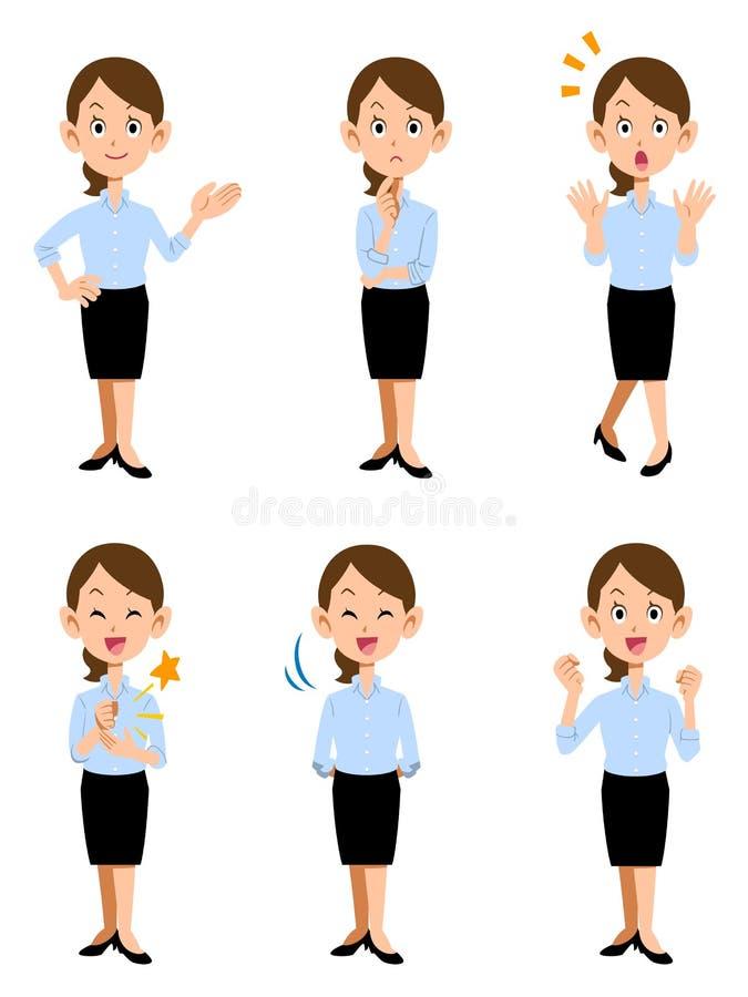 Женщины работая в офисе лета, 6 различных жестах и уходе за лицом бесплатная иллюстрация