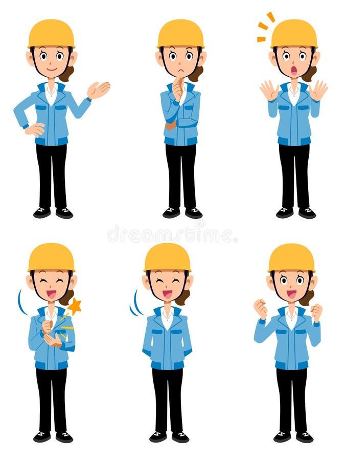 Женщины работая на представлении синего пиджака 6 строительной площадки различном иллюстрация штока