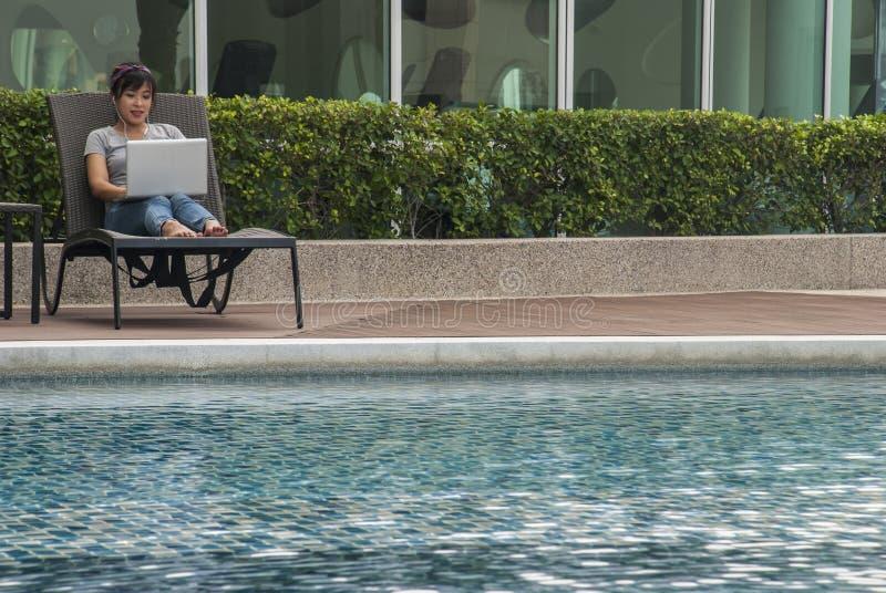 Женщины сидя на ноутбуке бассейном стоковые фотографии rf