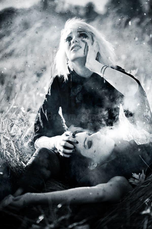 женщины скорбы goth принципиальной схемы стоковые изображения