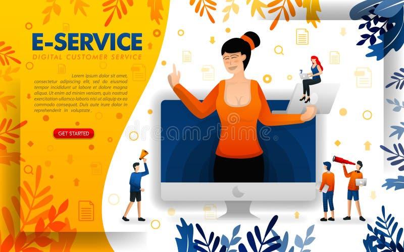 Женщины служат клиенты с технологией цифровых услуг e-обслуживание для того чтобы обслуживать онлайн дела запуска, ilustration ве иллюстрация вектора