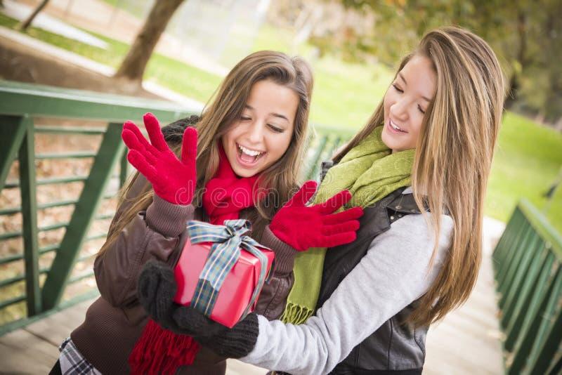 Женщины смешанной гонки имея обмен подарка стоковая фотография rf