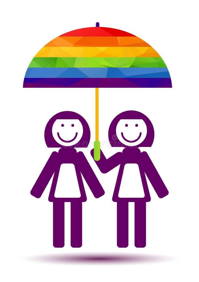 Женщины соединяют с зонтиком иллюстрация вектора
